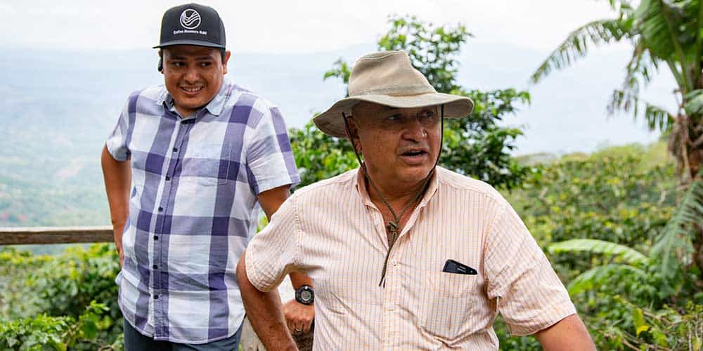 German and his father-in-law Rene Contreras on Finca Monte Verde in El Salvador.
