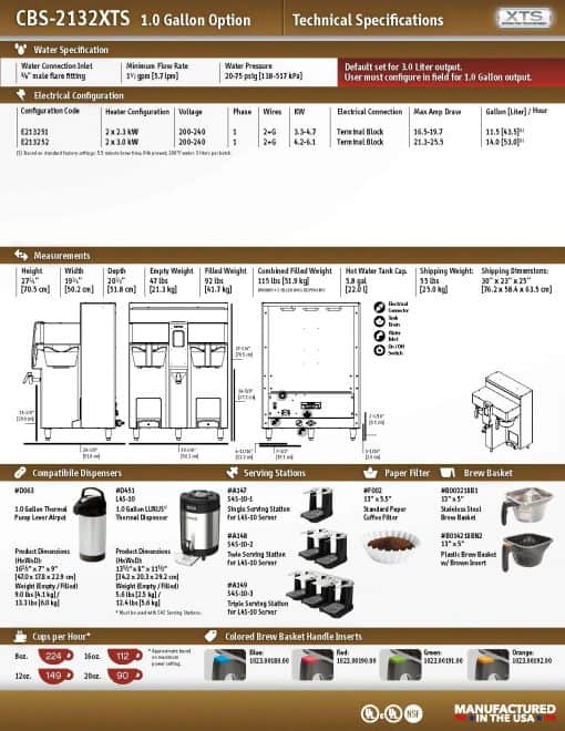 fetco 2131 dual xts 1g batch brewer technical specs